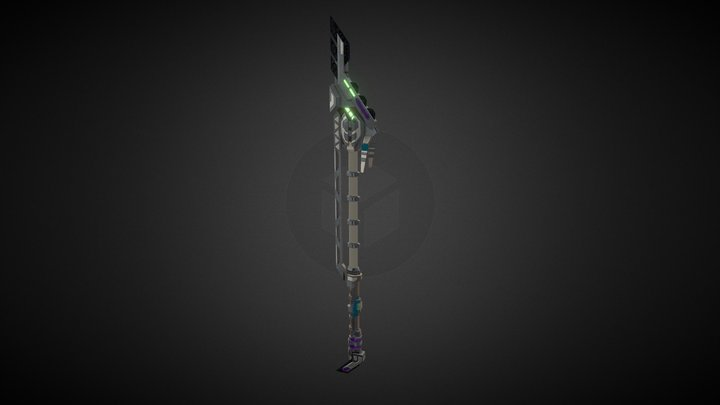 Aztec Cyberpunk Spear 3D Model