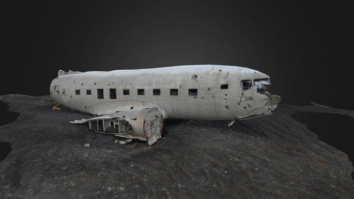 DC3 Plane Wreckage On Iceland (4) 3D Model