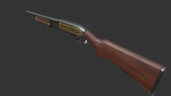Simple old shotgun 3D Model