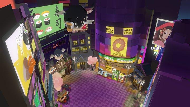 "Quill VR - Japanese City - ""Riff VR"" Game 3D Model"