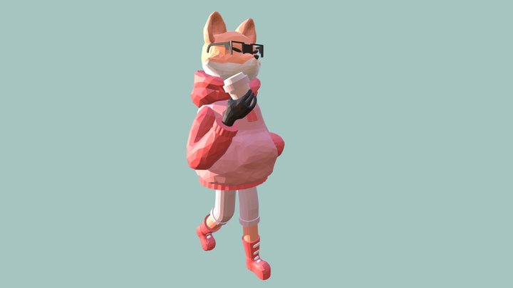 Fox with coffee 3D Model