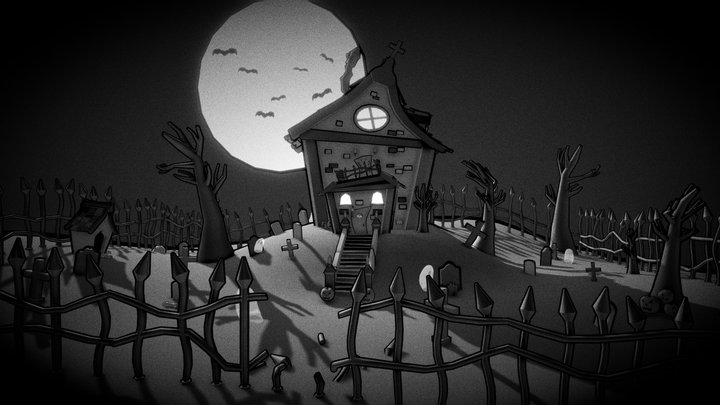 Cartoon Haunted House (Halloween Challenge 2020) 3D Model