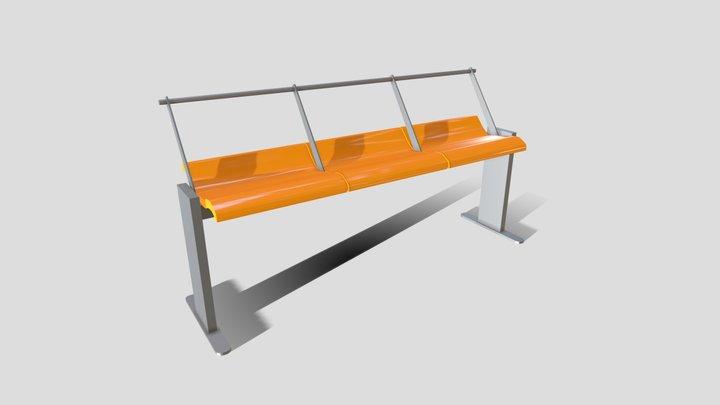 Japan Train Station Bench 3D Model