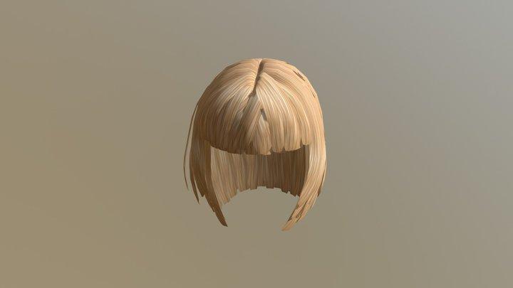 3d Golden Brown Black Hair 3D Model