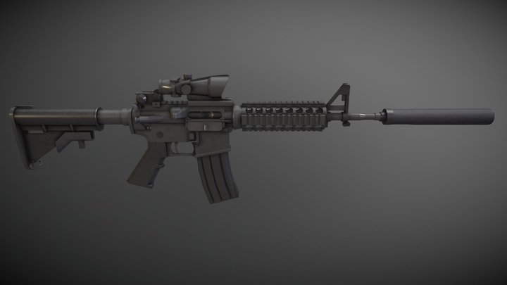M4 (ACOG Scope & Silencer) 3D Model