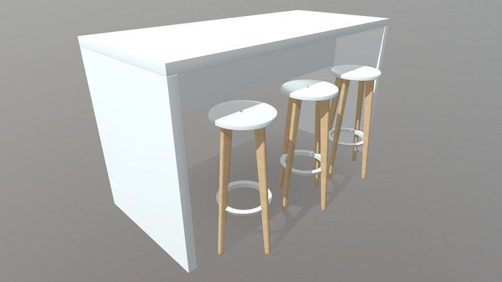 Vibe Counter Panel Table 3D Model