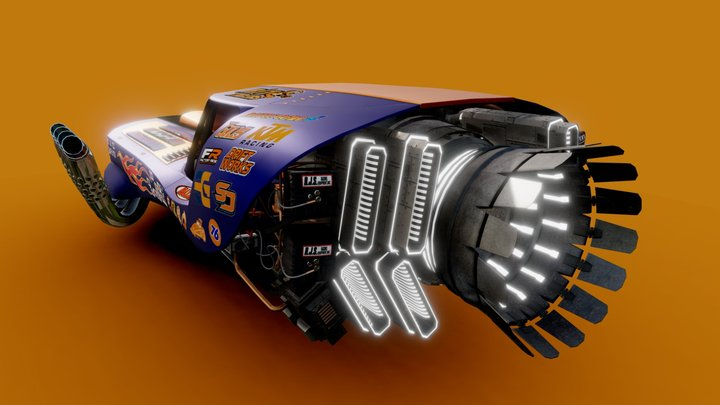 Drag racing Dodge Charger hover (Concept) 3D Model