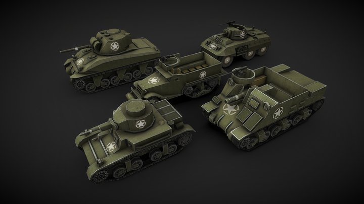 WW2 USA Low Poly Tanks #1 3D Model