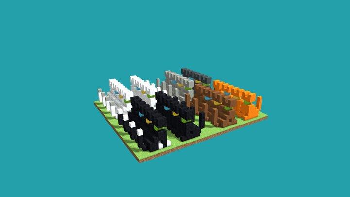 set of cats 3D Model