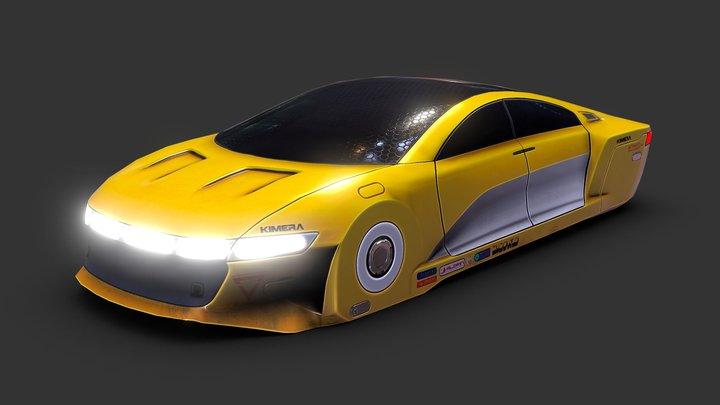 Sleek Cyberpunk Car 3D Model