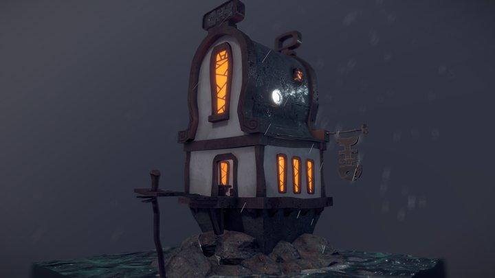 Sea front house 3D 3D Model