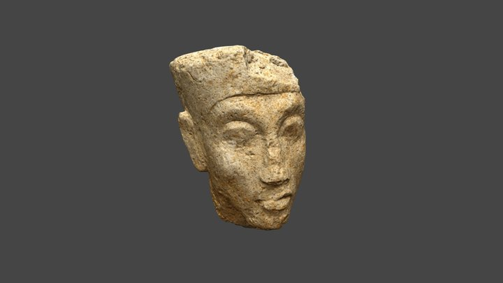 A head of Akhenaten from the Great Aten Temple 3D Model
