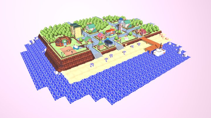 Pokémon city x Low Poly characters 3D Model