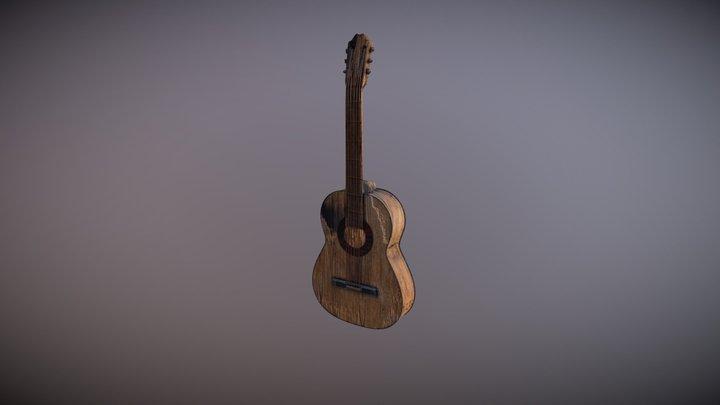 Destroyed Guitar 3D Model