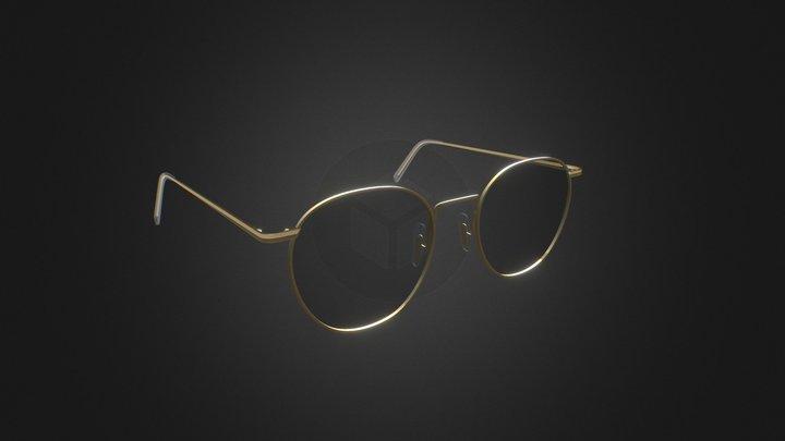 Neil Satin Gold Sunglass 3D Model