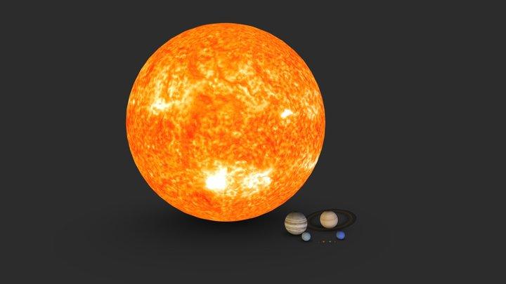 Solar System planets & Sun sizes 3D Model