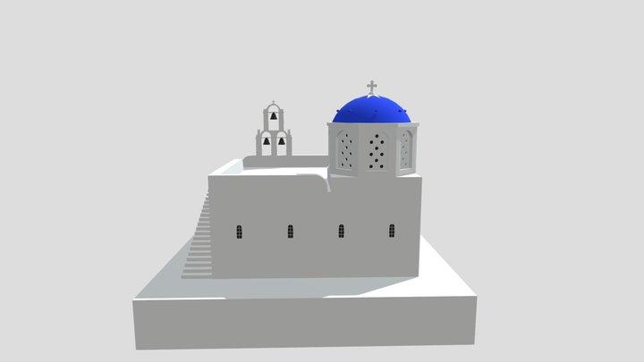 Blue Dome Church In Greece Santorini 3D Model
