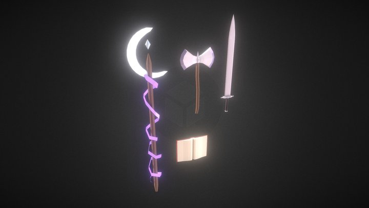 Fantasy Weapons (Sword, Magical Staff, Axe) 3D Model