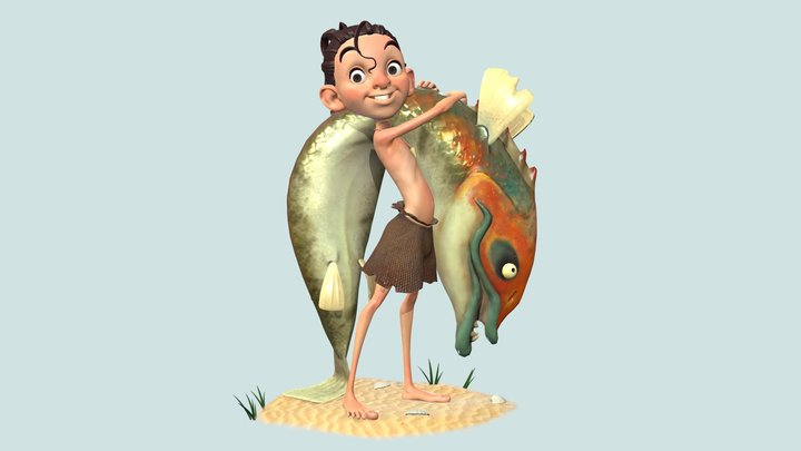 LITTLE BOY WITH BIG FISH 3D Model