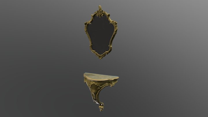 Rustic Louie XV Mirror and Wall Console 3D Model