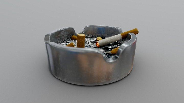 Vintage Metal Ashtray 3D Model