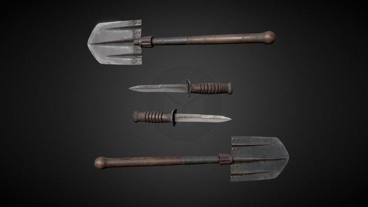 Combat knife and Feldspaten 3D Model