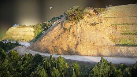 Cliff Face - land slide from UAV 3D Model