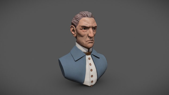 Dishonored Style Character Bust 3D Model