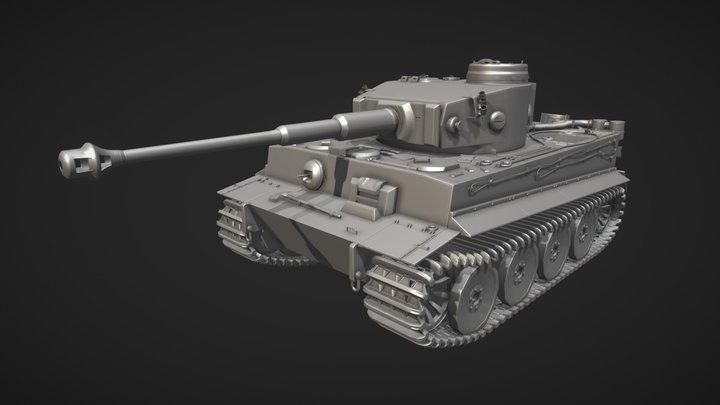 Tiger I  (Panzerkampfwagen VI) - WW2 German Tank 3D Model
