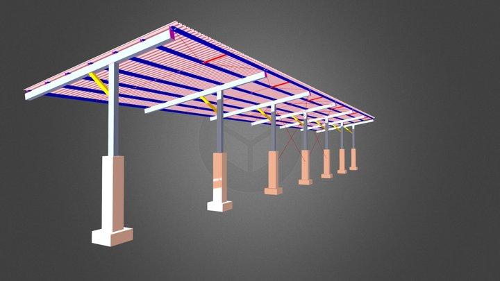 Cobertura de garagem modulada 3D Model