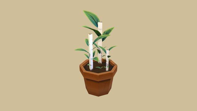 Fantasy Potted Plant - Low Poly Hand Painted 3D Model