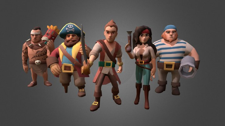Pirates Low Poly Game Characters 3D Model