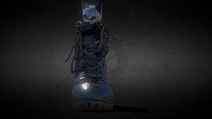 A Kitten in a boot 3D Model