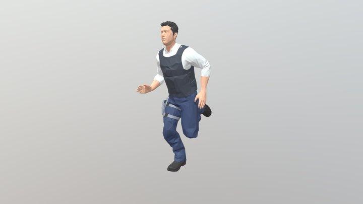 Male Soldier Run Cycle Loop 19 frame 3D Model