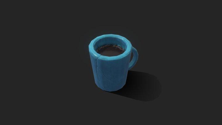 Props . Stylized Big Blue Cup 3D Model