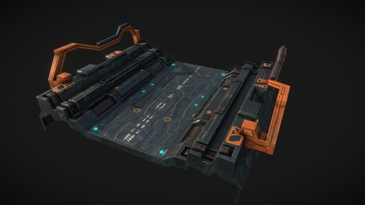 Low poly sci fi road patch environment asset 3D Model