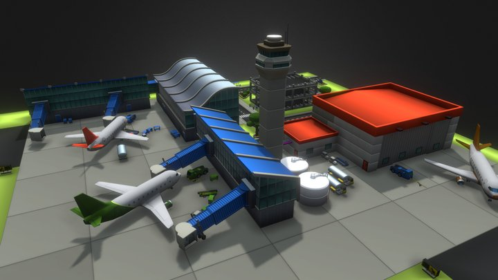 Airport Diorama - Kodiak Set 3D Model