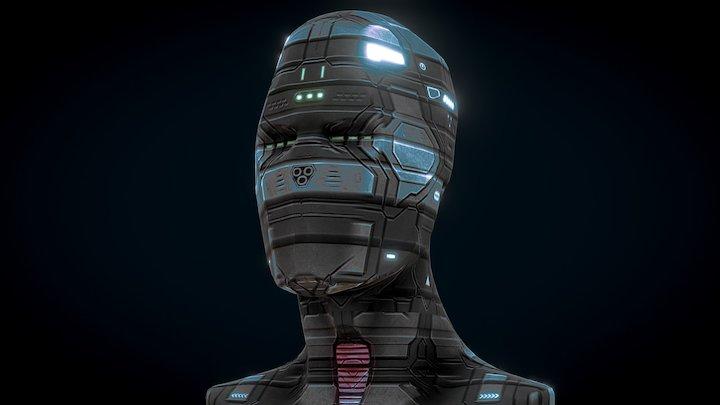 Sci Fi Head Low Poly 3D Model