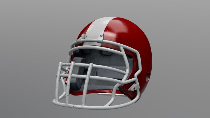 Old and Used American Football Helmet 3D Model