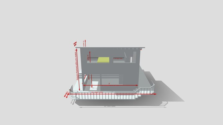 Garage Studio Mockup With Dropped Floor 3D Model