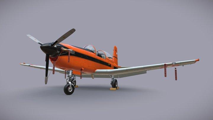Pilatus PC-7 Mk-I SAFOrange 3D Model