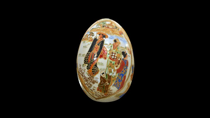 Japanese Hand Painted Egg 3D Model