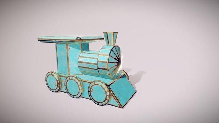 Old Brass Locomotive trinket 3D Model