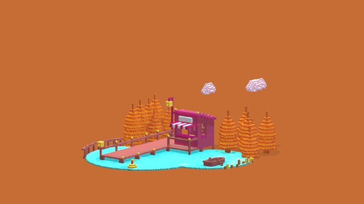 cabin lake voxel 3D Model