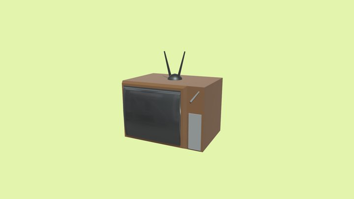 Low poly CRT TV 3D Model
