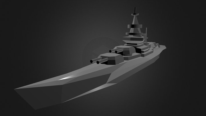 Battleship - Low poly, no texture 3D Model