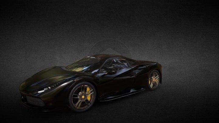 Black Ferrari 488 GTB 3D Model