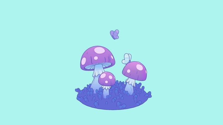 Pastel Mushroom 3D Model