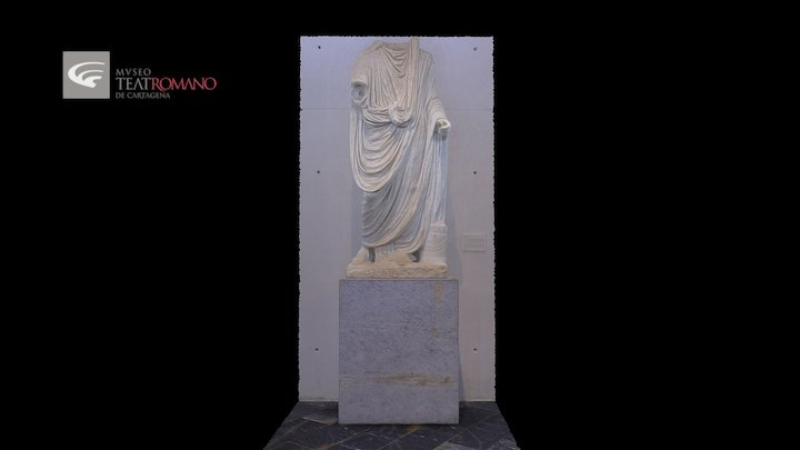 Veiled statue of a man with toga 3D Model