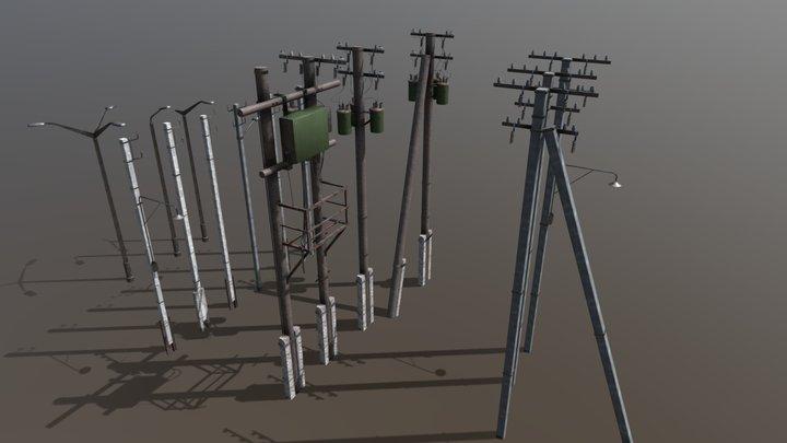Utility electric poles pack 3D Model